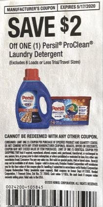 """$2/1 Persil ProClean Laundry Detergent Coupon from """"RetailMeNot"""" insert week of 5/3/20(exp 5/17)."""