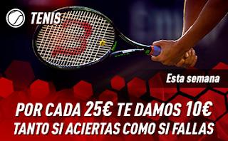 sportium Promo Tenis: Por cada 25€ ¡Te damos 10€! 2-6 enero
