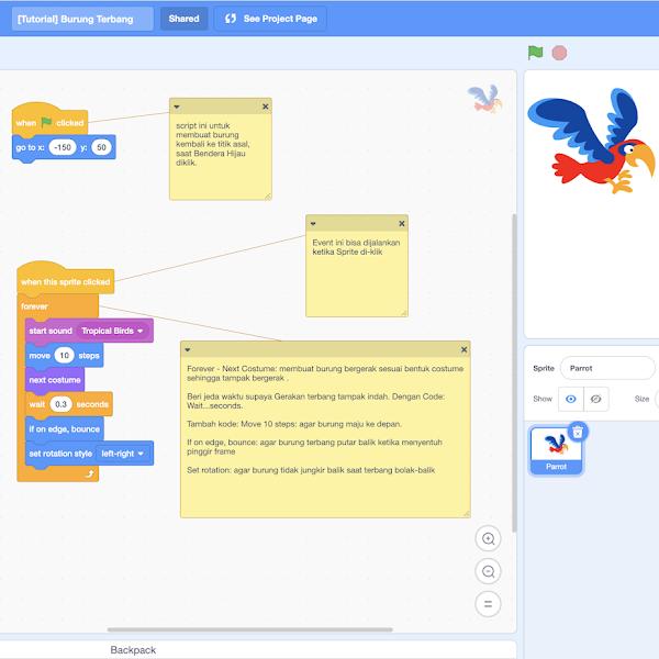 Tutorial Coding Scratch 3.0: Membuat Animasi Burung Kakatua Terbang