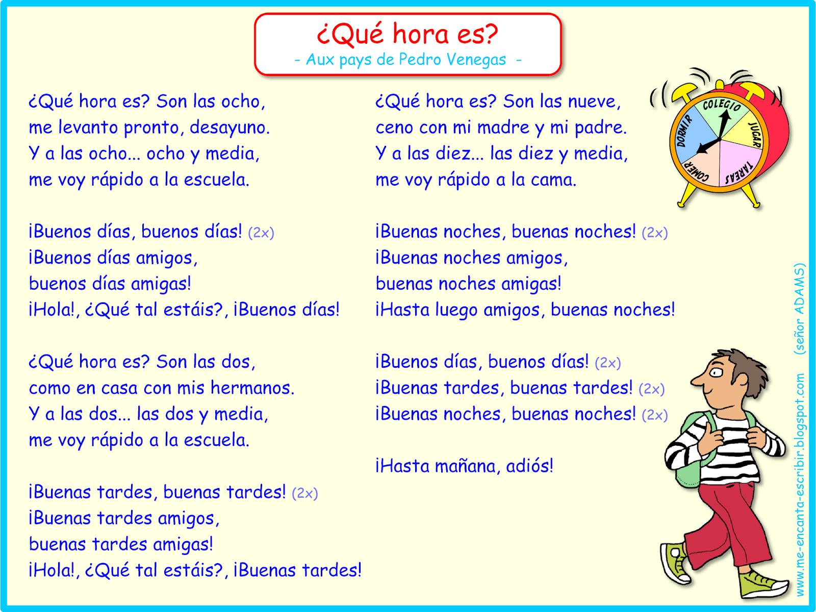 Me Encanta Escribir En Espanol Cancion Que Hora Es