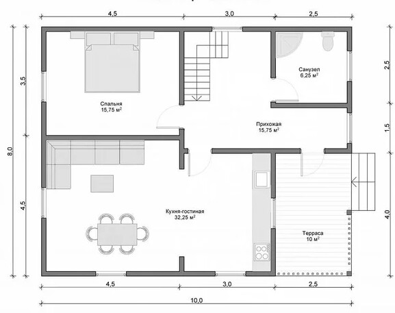 Floor plan with a house area of 80 square meters