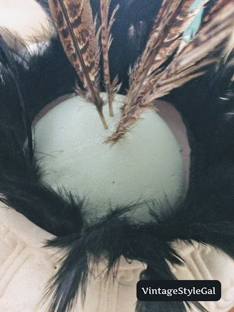Pheasant feathers stuck in foam ball