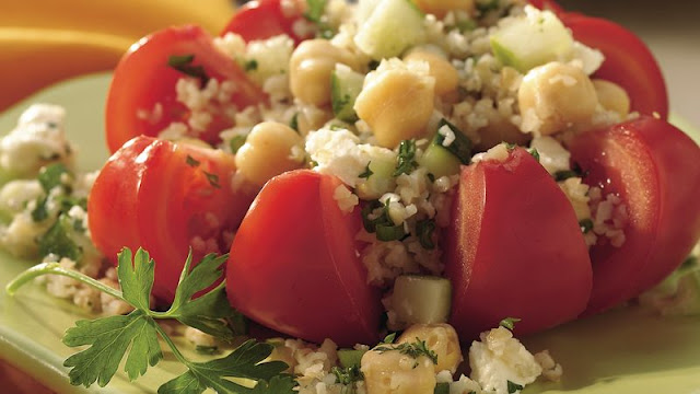 Stuff tomatoes with a global vegetarian salad mix of bulgur Middle Eastern Bulgur Salad Recipe