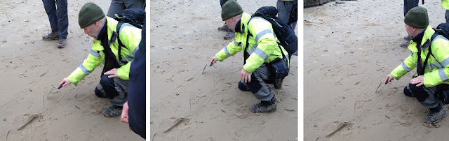 Professor Emrys Phillips drawing his interpretation of the Happisburgh cliffs
