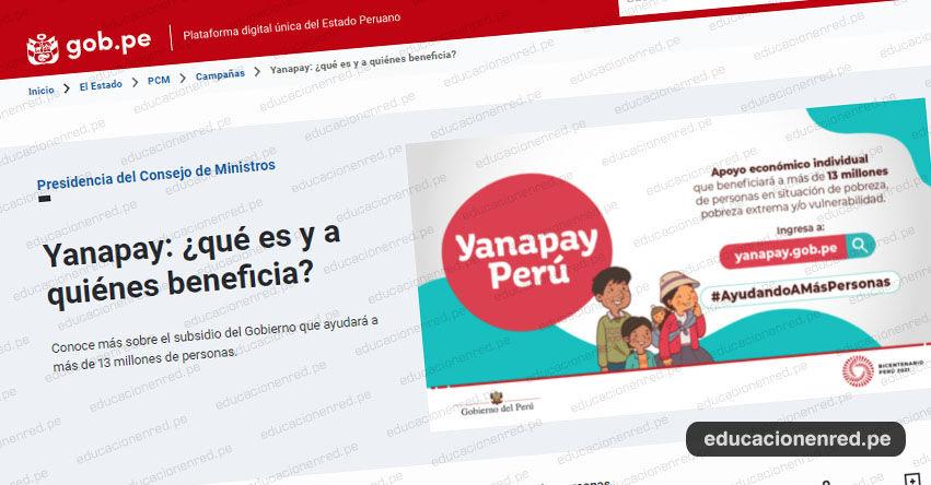 LINK OFICIAL BONO YANAPAY 350 SOLES: www.yanapay.gob.pe