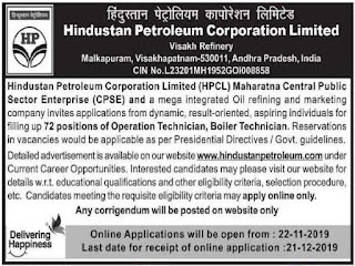 AP Visakh Refinery HPCL Boiler Technician, Operations Technicians Govt Jobs recrutiment 2019