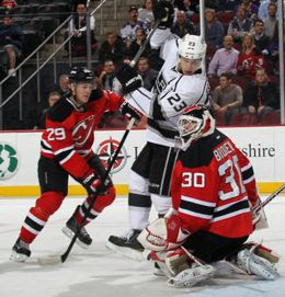 40c154f3cdd Kings vs Devils: The 2012 Stanley Cup preview. Dustin Brown attempts to  confused Martin Brodeur with