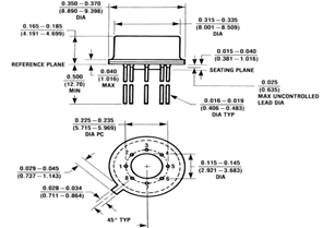 LF411 Op Amp Physical Dimensions