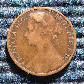 Antique Coin Collector: 英国 ビクトリア女王 1ペニー銅貨 1876年