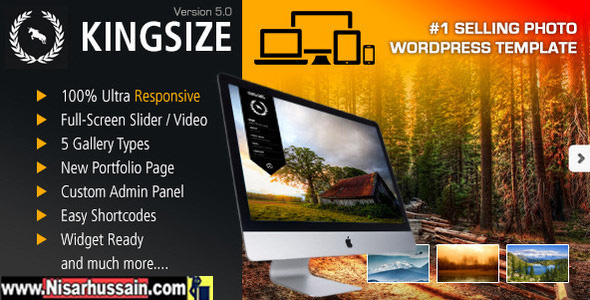 KingSize Fullscreen Photography Premium Theme