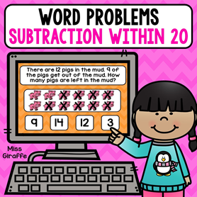 Subtraction within 20 word problems that are games kids can play on a computer or tablet! I love these!