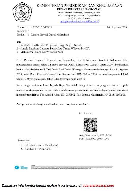 Pengumuman Hasil LIDM Tahap 1 Tahun 2020 tomatalikuang.com
