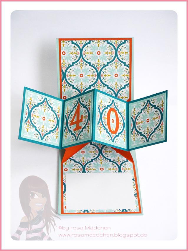 rosa m dchen pop up panel card zum 40. Black Bedroom Furniture Sets. Home Design Ideas