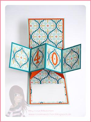 Stampin' Up! rosa Mädchen Kulmbach: Pop Up Panel Card mit Bannerweise Grüße und Designerpapier Bunter Basar