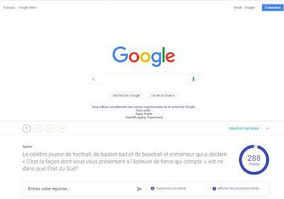 Page d'accueil de recherche au jeu A Google A day