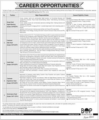 Bank Of Punjab (BOP) Jobs 2020