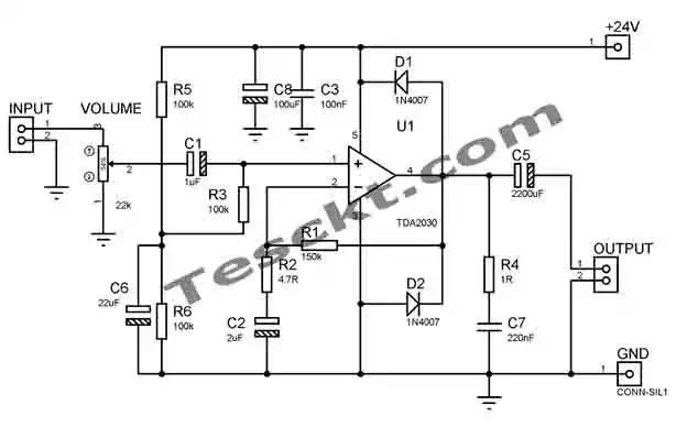 Tda2030 14w amplifier power supply