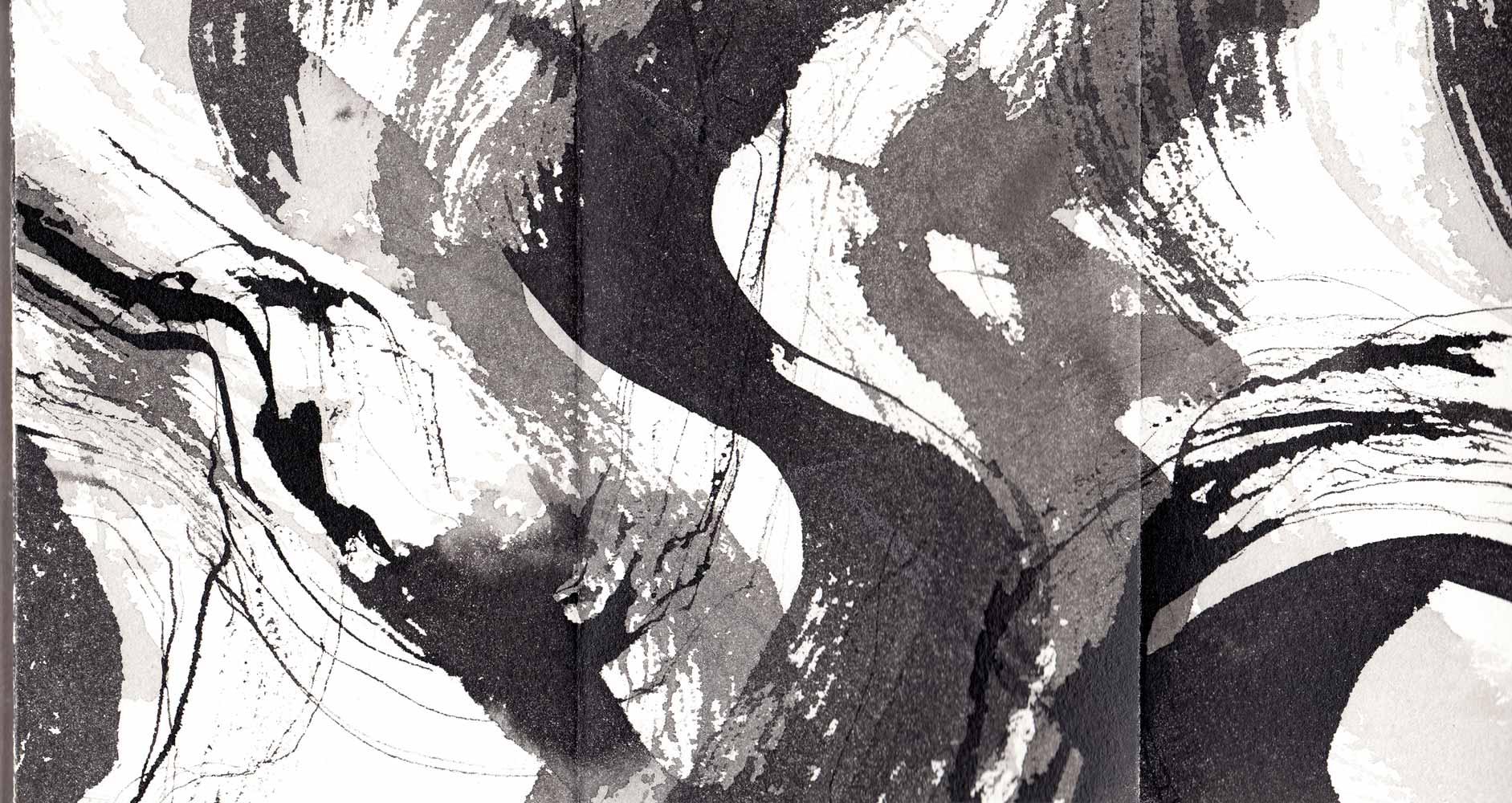 Livre-frise 15 Encre de Chine et lavis sur papier © Annik Reymond