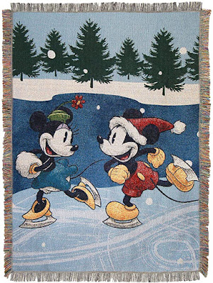 Mickey and Minnie Woven Tapestry Throw Blanket