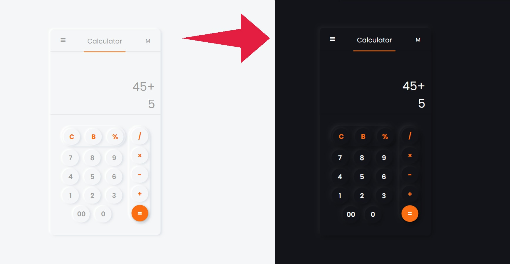 Neumorphism Calculator UI design Using HTML, CSS, and JS