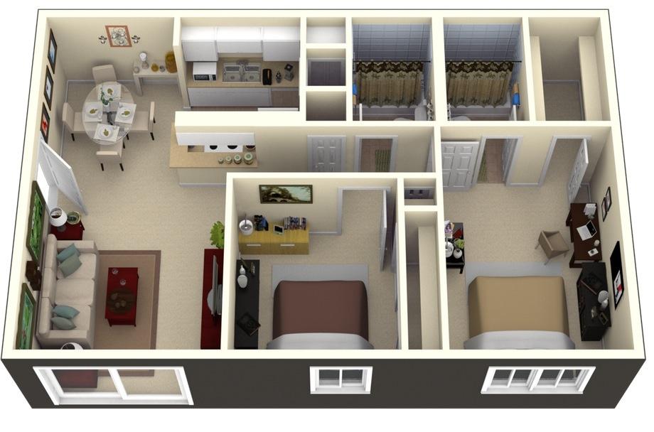 3 Bedroom Apartment Design Plan