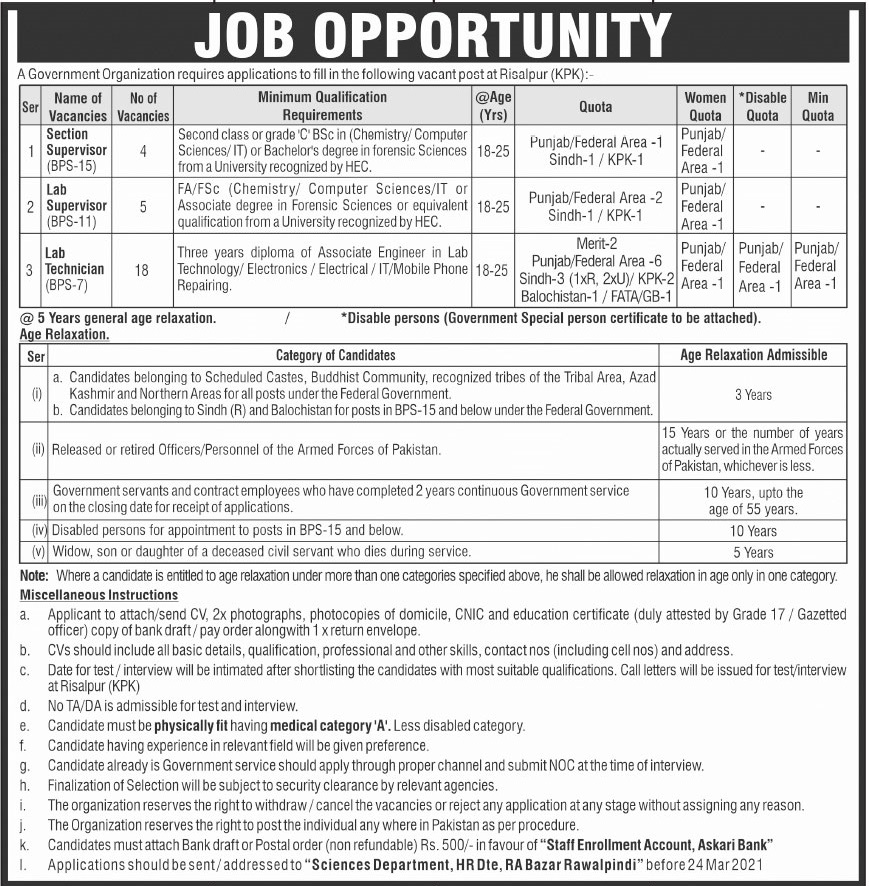 Government Organization Jobs 2021 For Section Supervisor, Lab Supervisor & Lab Technician