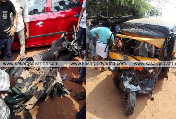 Road accident in Madiyan, Kanhangad, Kasaragod, News, Accident, Injured, hospital, Police, fire force, Traffic-block, Kerala