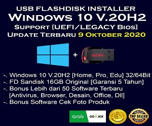 USB Flashdisk Installer Windows 10 [32/64Bit] + Paket Software