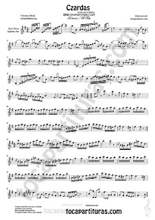 Czardas Sheet Music for Tenor Sax and Soprano Sax Classical Music Score