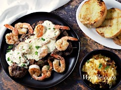 Ribeye Steak And Shrimp With Parmesan Sauce Recipe