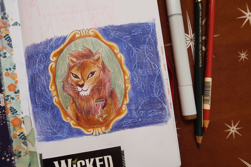 cowardly lion wizard of oz illustration