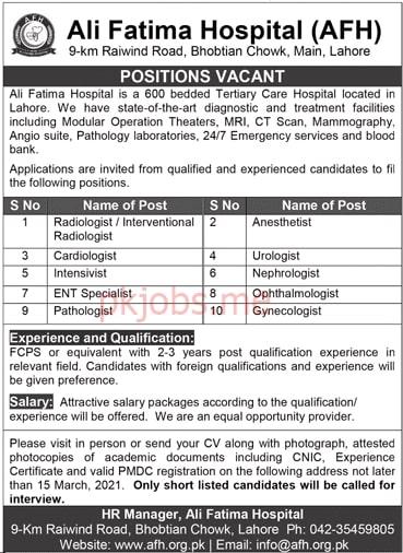 Latest Ali Fatima Hospital Medical Posts 2021