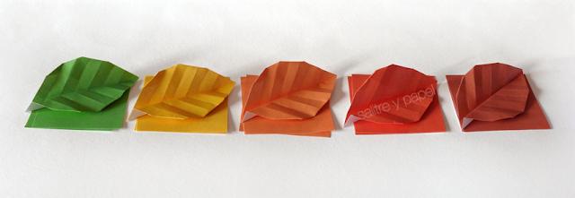 hojas de origami. Origami Leaf