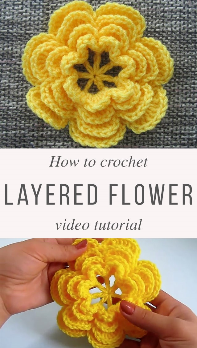 How to crochet flowers pattern yellow 3D