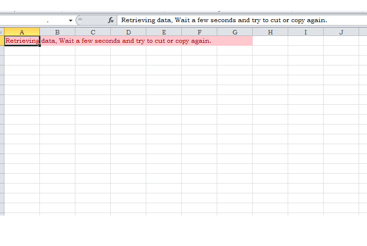 retrieving data. wait a few seconds and try to cut or copy again.