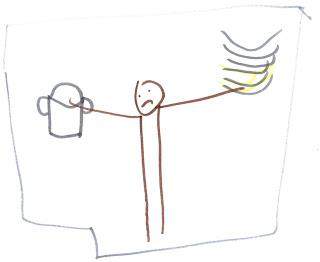 Grummeliges Nixklusionsmännchen, in einer Hand einen Stapel Teller, in der anderen einen Topf.