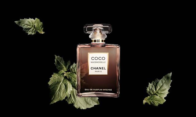 Oficjalna fotografia perfum Coco Mademoiselle Intense z liśćmi paczuli