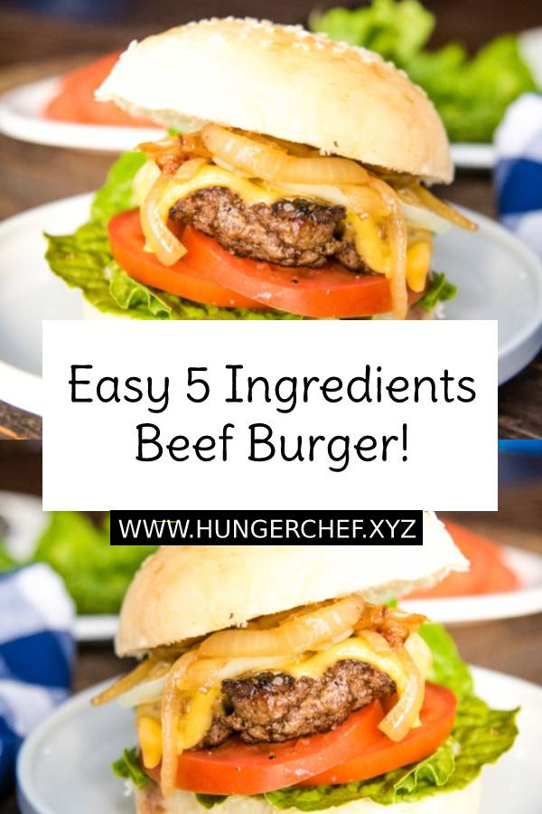 This Easy Homemade Beef Burger Recipe will have you skip the drive-through and head home to chow down on these instead! Super easy, only 5 ingredients! #burgers hamburger #burgerrecipe #homemade #easyburger #bestrecipe #dinner #dinnerrecipe #dish #maindish #bestburger #recipeoftheday #easyrecipe