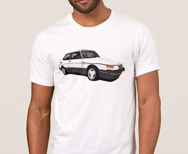 Saab 900 Turbo 16  Aero t-shirt white side view