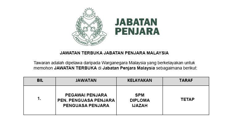 Permohonan Terbuka Jawatan di Jabatan Penjara Malaysia - Pegawai / Penolong Penguasa / Penguasa Penjara