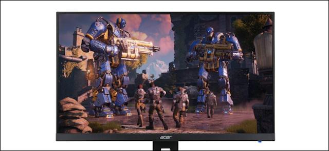 شاشة ألعاب Acer تعرض لعبة فيديو.