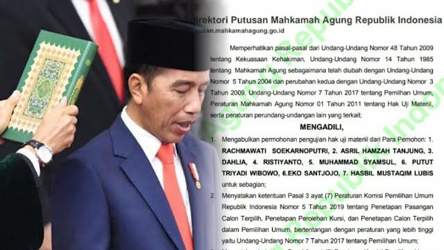Gempar! Putusan MA soal Gugatan Pilpres 2019 Baru Dipublish, Dasar Hukum Penetapan Kemenangan Jokowi Dibatalkan