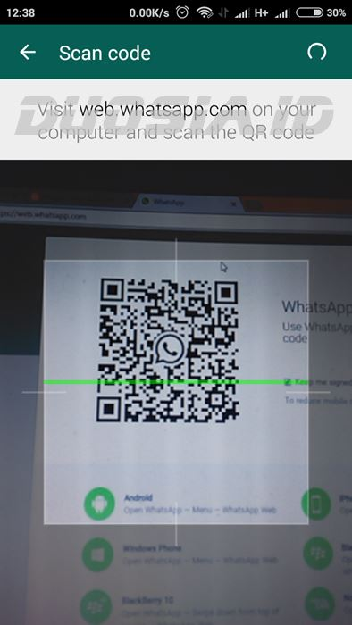 Scan QR code untuk login Whatsapp for PC
