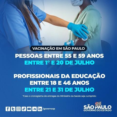 Vacinação: Profissionais da educação de 18 e 46 anos entre 21 e 31/07