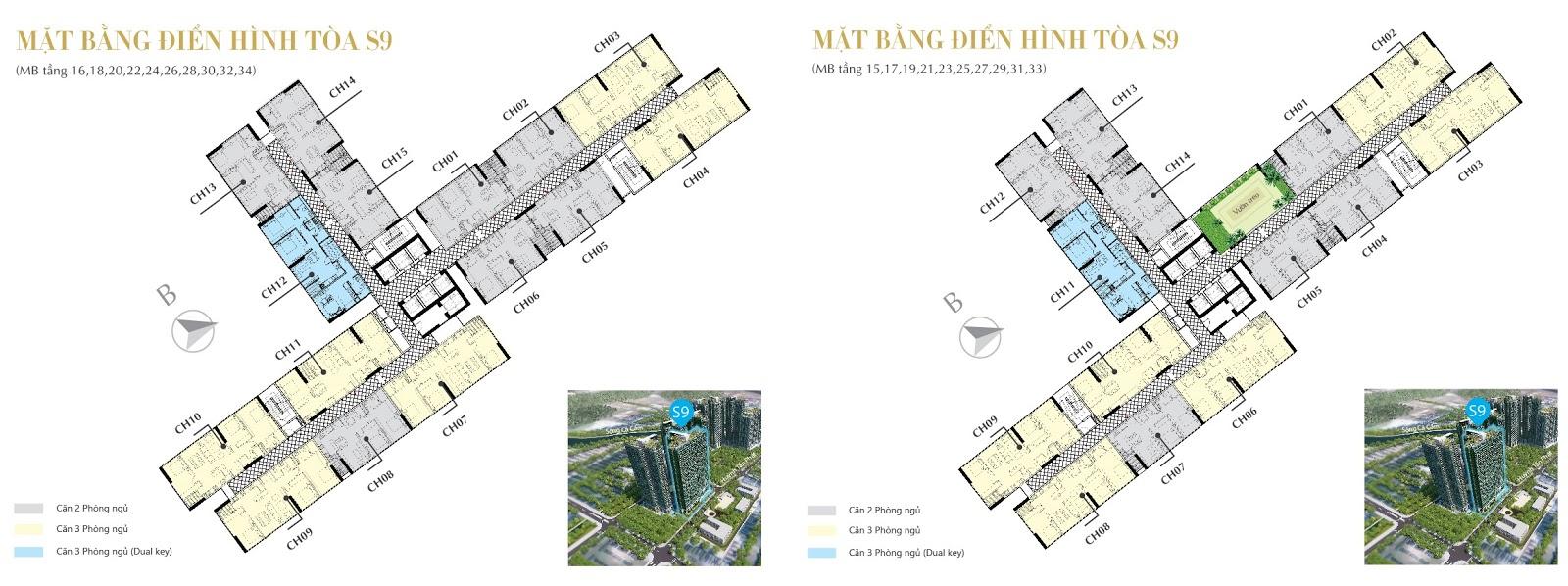 Mặt bẳng căn hộ tòa S9 Sunshine City Sài Gòn