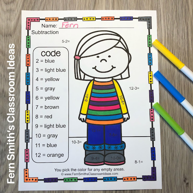 Click Here to Download This Subtraction Color By Number Worksheet Freebie for Your Classroom Today!