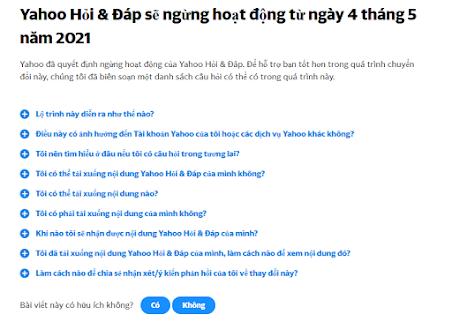 Giao diện của trang chủ vn.answers.yahoo.com  sau khi có thông báo đóng cửa