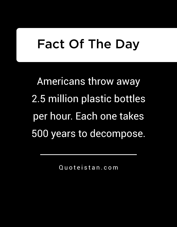 Americans throw away 2.5 million plastic bottles per hour. Each one takes 500 years to decompose.