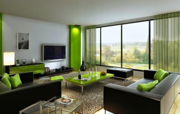 Sala De Estar Com Decoracao Verde ~ Salas color verde y gris