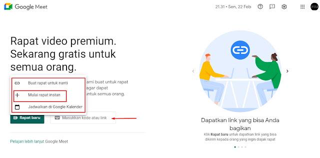 Rapat menggunakan Google Meet